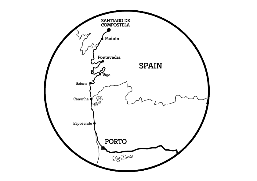 Bike Tour in the Portuguese Camino by the Coast from Porto map